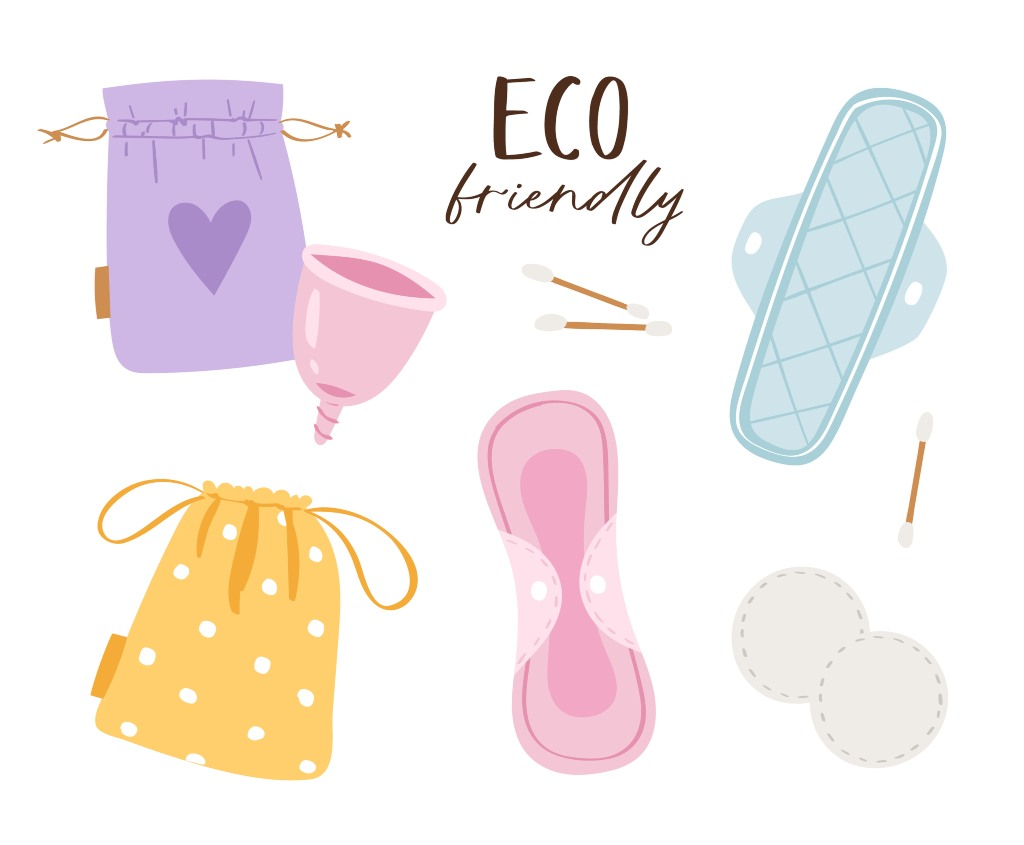 eco-friendly menstrual products cup, reusable pads