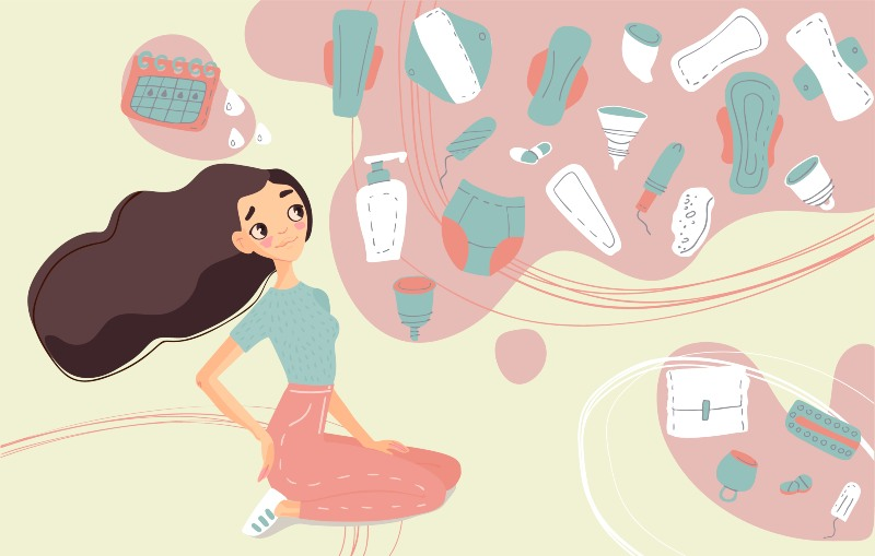 girl thinking of menstrual products vector
