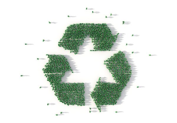 people forming recycle symbol