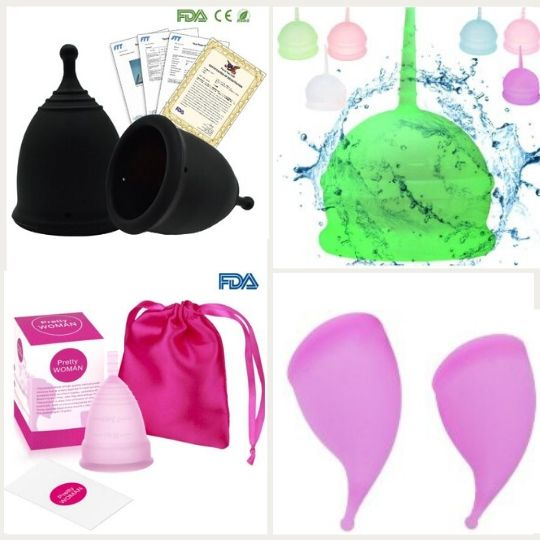 cheap knock-off menstrual cup collage