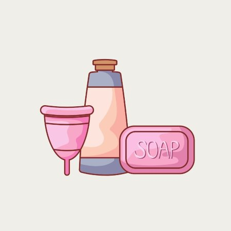 menstrual cup soap and bottle