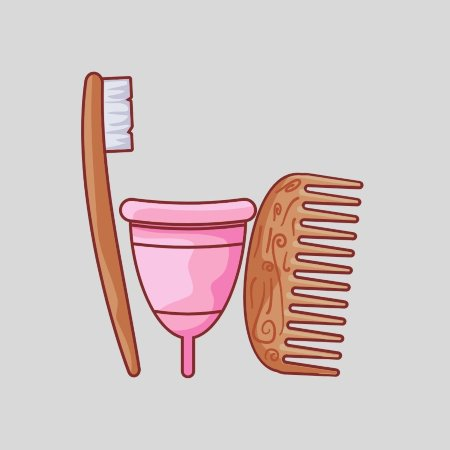 brown toothbrush with pink menstrual cup